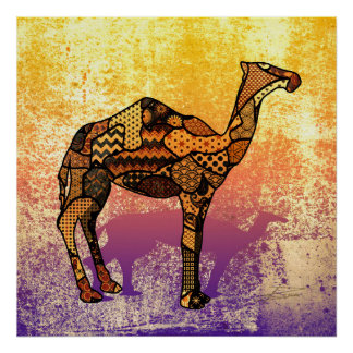 Abstract Collage Ozzy the Camel ID102 Poster