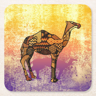 Abstract Collage Ozzy the Camel ID102 Square Paper Coaster
