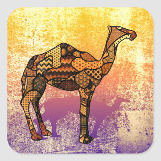 Abstract Collage Ozzy the Camel ID102 Square Sticker