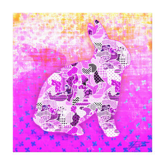 Abstract Collage Roxie the Rabbit ID101 Canvas Print