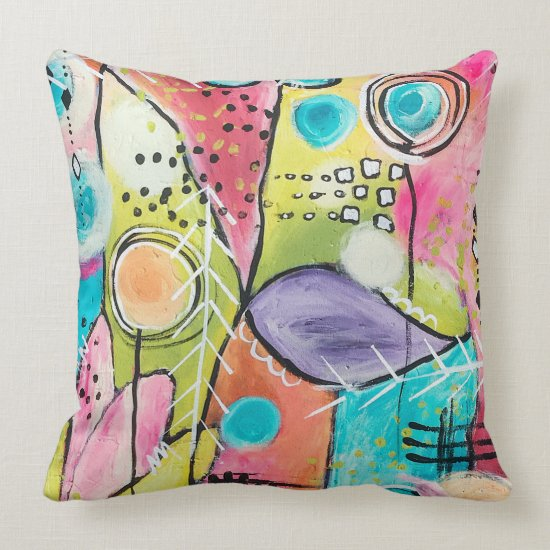 Abstract Color Block Artistic Pink Blue Red Purple Throw Pillow
