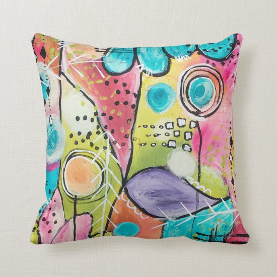 Abstract Color Block Doodle Artistic Bold Colorful Throw Pillow