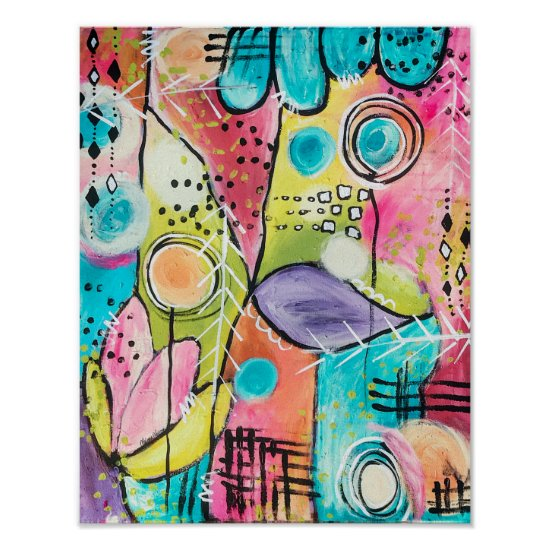 Abstract Color Block Pink Blue Green Yellow Purple Poster
