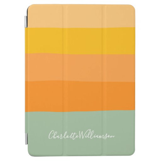 Abstract Color Block Stripes Orange Personalized iPad Air Cover