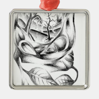 Abstract color design art square metal christmas ornament