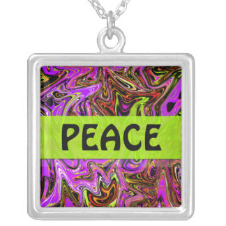 Abstract Color Frenzy Peace Necklace Pink