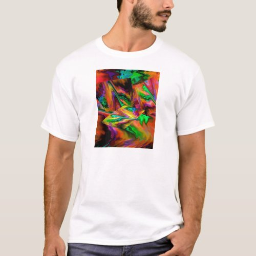 Abstract Color Journey in Orange T-Shirt