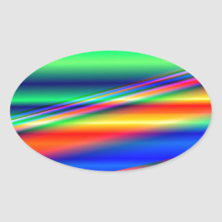 Abstract Color Lines: Oval Sticker