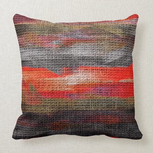 Abstract Color Paint Brush Rustic Burlap #10 Throw Pillow Zazzle