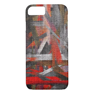 Abstract Color Paint Brush Rustic Burlap #11 iPhone 8/7 Case