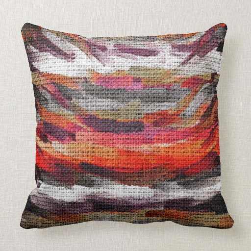 Abstract Color Paint Brush Rustic Burlap #3 Throw Pillow Zazzle