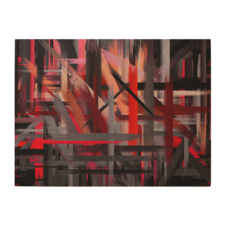 Abstract Color Paint Brush Stroke #11 Wood Wall Decor