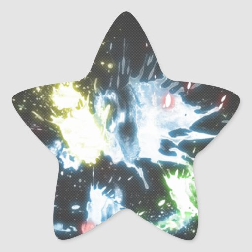 Abstract Color Splash Star Sticker