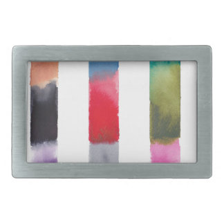 Abstract Color Stripes in Watercolor Rectangular Belt Buckle