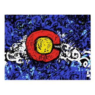 Abstract Colorado Flag Postcard