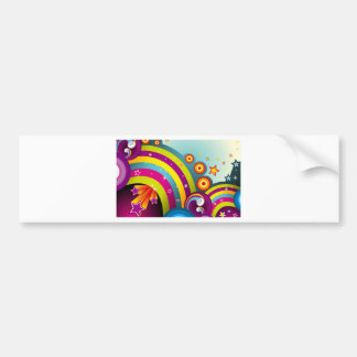 Abstract Colored Circles and Star and Rainbows Bumper Sticker