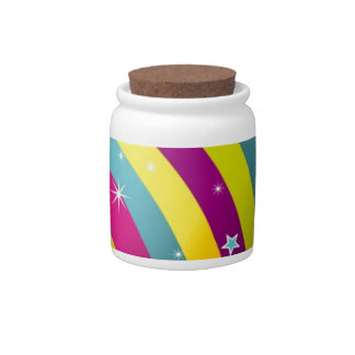 Abstract Colored Circles and Star and Rainbows Candy Dish