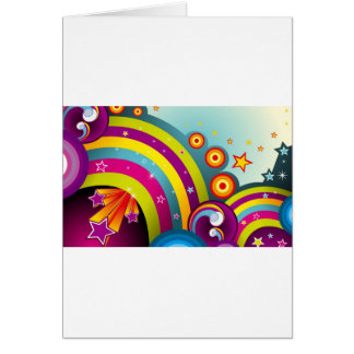 Abstract Colored Circles and Star and Rainbows Card