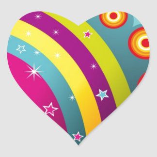 Abstract Colored Circles and Star and Rainbows Heart Sticker