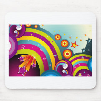 Abstract Colored Circles and Star and Rainbows Mouse Pad