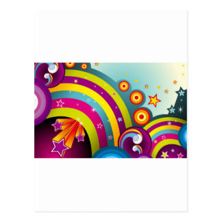 Abstract Colored Circles and Star and Rainbows Postcard