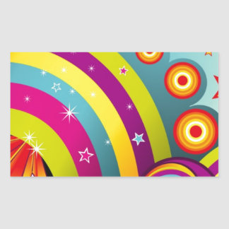 Abstract Colored Circles and Star and Rainbows Rectangular Sticker