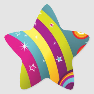 Abstract Colored Circles and Star and Rainbows Star Sticker