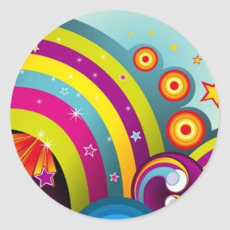 Abstract Colored Circles and Star and Rainbows Round Stickers