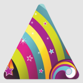 Abstract Colored Circles and Star and Rainbows Triangle Sticker