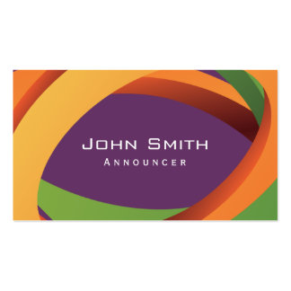 Abstract Colored Curves Announcer Business Card