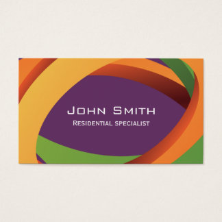 Abstract Colored Curves Landscaping Business Card