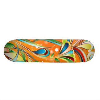 Abstract Colored Floral Vector Art Skateboard