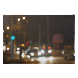 Abstract colored lights from moving vehicles cloth placemat