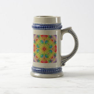 Abstract Colored Pencils Fractal Beer Stein