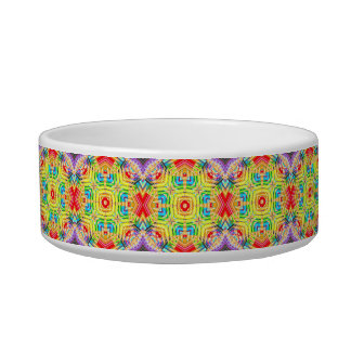 Abstract Colored Pencils Fractal Cat Water Bowls
