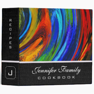 Abstract Colored Swirl Cookbook Burlap Look #2 Binder