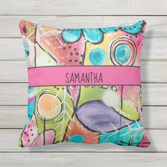 Abstract Colorful Artsy Pink Blue Green Add Name Outdoor Pillow