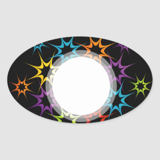 Abstract colorful background oval sticker