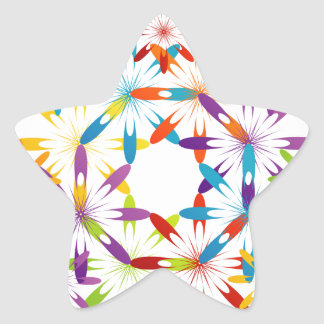 Abstract colorful background star sticker