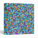 Abstract Colorful Blue Mosaic Pattern 3 Ring Binders