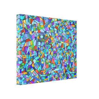 Abstract Colorful Blue Mosaic Pattern Canvas Print