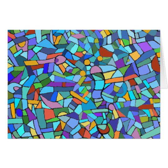 Abstract Colorful Blue Mosaic Pattern Card