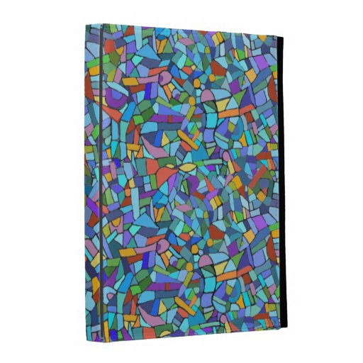 Abstract Colorful Blue Mosaic Pattern iPad Folio Case