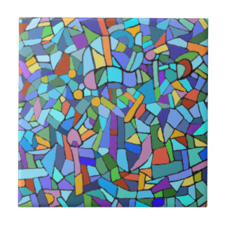 Abstract Colorful Blue Mosaic Pattern Ceramic Tile