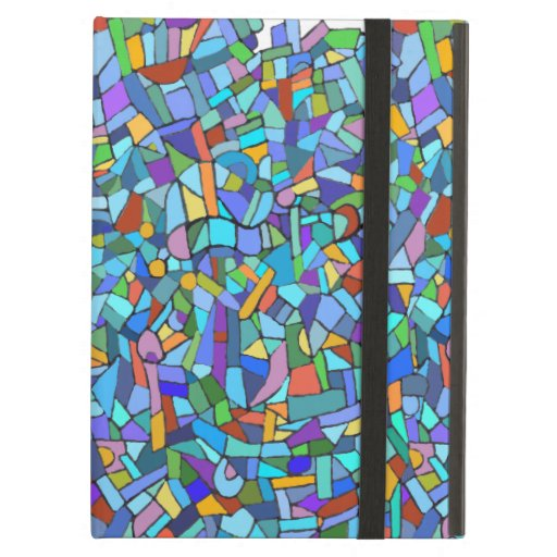 Abstract Colorful Blue Mosaic Pattern iPad Folio Cases