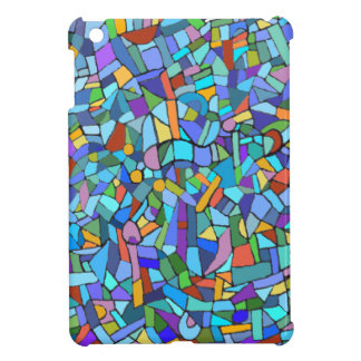 Abstract Colorful Blue Mosaic Pattern Cover For The iPad Mini