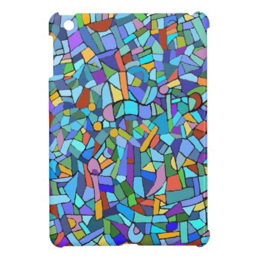 Abstract Colorful Blue Mosaic Pattern Case For The iPad Mini