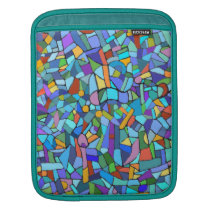 Abstract Colorful Blue Mosaic Pattern iPad Sleeve