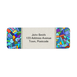 Abstract Colorful Blue Mosaic Pattern Label