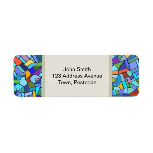Abstract Colorful Blue Mosaic Pattern Custom Return Address Labels